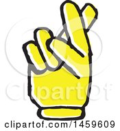 Clipart Of A Yellow Pop Art Styled Hand With Crossed Fingers Royalty Free Vector Illustration