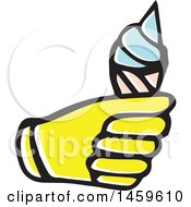 Clipart Of A Yellow Pop Art Styled Hand Holding An Ice Cream Cone Royalty Free Vector Illustration