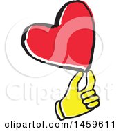 Clipart Of A Yellow Pop Art Styled Hand Holding A Love Heart Royalty Free Vector Illustration