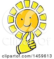 Clipart Of A Yellow Pop Art Styled Hand Holding A Sun Royalty Free Vector Illustration