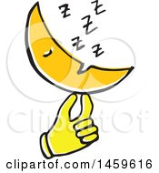 Clipart Of A Yellow Pop Art Styled Hand Holding A Sleeping Moon Royalty Free Vector Illustration