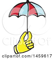 Clipart Of A Yellow Pop Art Styled Hand Holding An Umbrella Royalty Free Vector Illustration