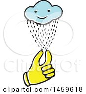 Clipart Of A Yellow Pop Art Styled Hand Holding A Rain Cloud Royalty Free Vector Illustration