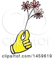 Clipart Of A Yellow Pop Art Styled Hand Holding Flowers Royalty Free Vector Illustration