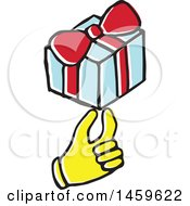 Clipart Of A Yellow Pop Art Styled Hand Holding A Gift Royalty Free Vector Illustration
