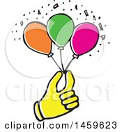Clipart Of A Yellow Pop Art Styled Hand Holding Party Balloons Royalty Free Vector Illustration