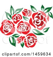Red Rose And Green Leaf Floral Design