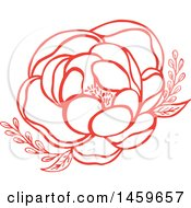Clipart Of A Red Blooming Wildflower Royalty Free Vector Illustration
