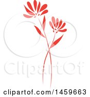 Clipart Of A Red Wild Flower Design Royalty Free Vector Illustration