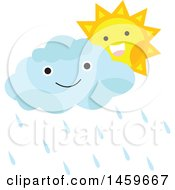 Clipart Of A Happy Sun And Rain Cloud Royalty Free Vector Illustration by Cherie Reve
