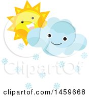 Clipart Of A Happy Sun And Snow Cloud Emoji Royalty Free Vector Illustration