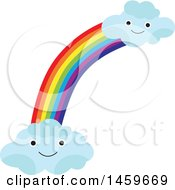 Clipart Of A Weather And Happy Clouds Icon Royalty Free Vector Illustration by Cherie Reve