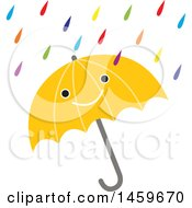 Clipart Of A Happy Umbrella And Colorful Rain Weather Icon Royalty Free Vector Illustration by Cherie Reve