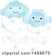 Clipart Of Happy Snow Clouds Weather Icon Royalty Free Vector Illustration