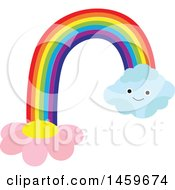 Clipart Of A Happy Cloud Flower And Rainbow Weather Icon Royalty Free Vector Illustration