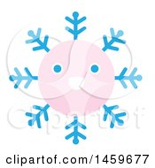 Clipart Of A Happy Pink Snowflake Royalty Free Vector Illustration by Cherie Reve