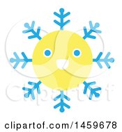 Clipart Of A Happy Yellow Snowflake Royalty Free Vector Illustration