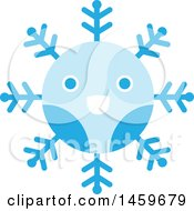 Clipart Of A Happy Blue Snowflake Royalty Free Vector Illustration by Cherie Reve