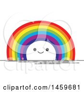 Clipart Of A Happy Rainbow Weather Icon Royalty Free Vector Illustration