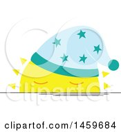 Clipart Of A Sleepy Setting Sun Weather Icon Royalty Free Vector Illustration by Cherie Reve