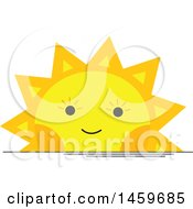 Clipart Of A Happy Setting Sun Weather Icon Royalty Free Vector Illustration by Cherie Reve