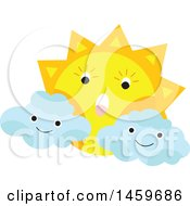 Clipart Of A Cloud And Sun Weather Icon Royalty Free Vector Illustration by Cherie Reve