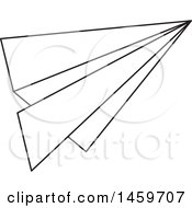 Clipart Of A Black And White Paper Plane Royalty Free Vector Illustration by Cherie Reve