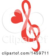 Poster, Art Print Of Red Music Note With A Love Heart
