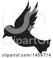 Clipart Of A Flying Silhouetted Dove Royalty Free Vector Illustration