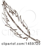 Clipart Of A Sketched Indian Arrow And Feather Royalty Free Vector Illustration by Cherie Reve