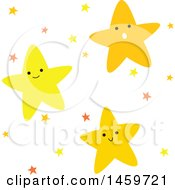 Clipart Of A Group Of Happy Stars Royalty Free Vector Illustration by Cherie Reve