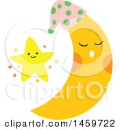 Clipart Of A Happy Star And Moon Royalty Free Vector Illustration by Cherie Reve