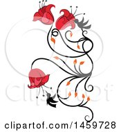 Clipart Of A Hummingbird And Red Flower Vine Design Element Royalty Free Vector Illustration