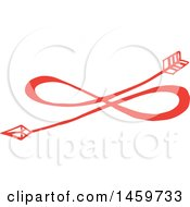 Clipart Of A Red Eternal Love Infinity Arrow Design Royalty Free Vector Illustration