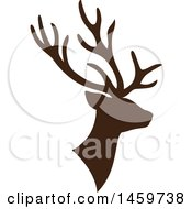 Clipart Of A Brown Silhouetted Reindeer Royalty Free Vector Illustration by Cherie Reve
