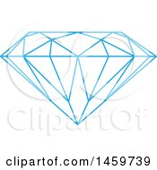 Clipart Of A Faceted Blue Diamond Royalty Free Vector Illustration