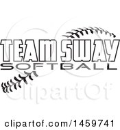 Clipart Of Black And White Team Sway Softball Text Over Stitches Royalty Free Vector Illustration by Johnny Sajem