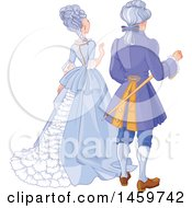 Clipart Of A Rear View Of An Aristocratic Couple Royalty Free Vector Illustration