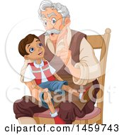 Clipart Of A Man Mister Geppetto Sitting And Talking To Pinocchio Royalty Free Vector Illustration by Pushkin