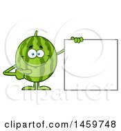 Happy Watermelon Character Mascot Pointing To A Blank Sign