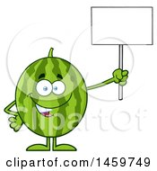 Happy Watermelon Character Mascot Holding Up A Blank Sign