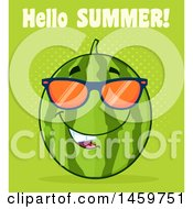 Clipart Of A Watermelon Character Mascot Wearing Sunglasses With Hello Summer Text On Green Royalty Free Vector Illustration