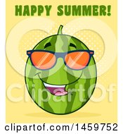 Clipart Of A Watermelon Character Mascot Wearing Sunglasses With Happy Summer Text On Orange Royalty Free Vector Illustration by Hit Toon