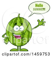 Clipart Of A Happy Watermelon Character Mascot Saying Hello Summer Waving Royalty Free Vector Illustration