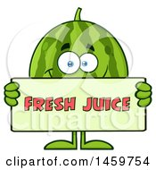 Clipart Of A Happy Watermelon Character Mascot Holding A Fresh Juice Sign Royalty Free Vector Illustration by Hit Toon