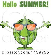 Clipart Of A Welcoming Watermelon Character Mascot With Open Arms And Sunglasses Under Hello Summer Text Royalty Free Vector Illustration