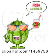 Clipart Of A Happy Watermelon Character Mascot Saying Hello Summer And Holding A Glass Of Juice Royalty Free Vector Illustration