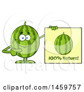 Happy Watermelon Character Mascot Pointing To A Natural Sign
