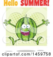 Clipart Of A Happy Watermelon Character Mascot Jumping With Hello Summer Text And Green Halftone Royalty Free Vector Illustration