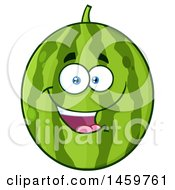 Clipart Of A Happy Watermelon Character Mascot Royalty Free Vector Illustration